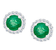 Premier Round Emerald & Diamond Halo Stud Earrings, 14K - J336339