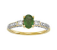 Oval Emerald & 1/2 cttw Diamond Ring, 14K Gold - J336639