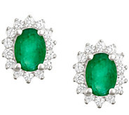 Premier 7x5mm Oval Emerald & Diamond Earrings,14K - J338139