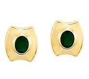 Emerald Post Earrings, 14K Gold - J338439