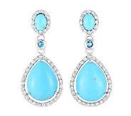 Pear-Shaped Turquoise & Gemstone Drop Earrings,Sterling - J338639