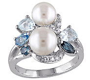 Sterling Blue Multi-Gemstone & Cultured Pearl Cluster Ring - J339839