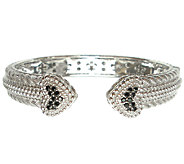 Judith Ripka Sterling Pave Black Spinel HeartCuff - J339939