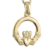 Solvar Claddagh Pendant with 18 Chain 14K Gold - J340739