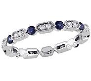 Blue Sapphire & Diamond Eternity Band Ring, 14KWhite Gold - J340839