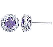 Diamonique Simulated Halo Birthstone Stud Earrings - J341339