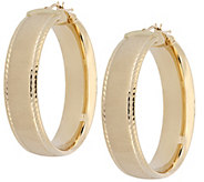 Arte dOro Satin & Diamond Cut Hoop Earrings, 18K - J342939