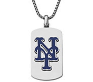 Mens MLB Mets Stainless Steel Dog Tag with Chain - J343739