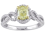 Oval Yellow Diamond Ring, 14K, 1.00 cttw, by Affinity - J344439