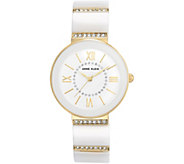 Anne Klein White Ceramic Watch with Swarovski Accents - J344739