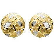 14K Gold Two-tone Geometic Pattern Earrings - J344839
