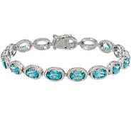 Teal Blue Apatite Sterling Silver 6-3/4 Tennis Bracelet - J346139
