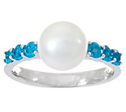 Honora Cultured Pearl 8.0mm & Exotic Gemstone Sterling Ring - J346539