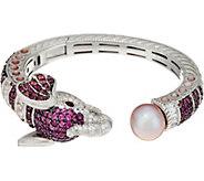 Judith Ripka Sterling 6.45 cttw Gemstone Ethel Elephant Cuff Bracelet - J347539