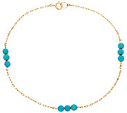 Turquoise Bead Station Ankle Bracelet 14K Gold - J347839