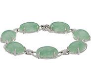 Oval Burmese Jade Sterling Silver Bold Bracelet - J350639