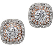 Diamonique Double Halo Stud Earrings, Sterling - J351339