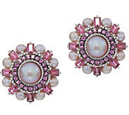 Judith Ripka Sterling Pink Cultured Pearl & Gemstone Earrings - J352339