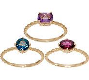 Judith Ripka 14K Rhodolite, Amethyst & Blue Topaz Ring Set - J352439