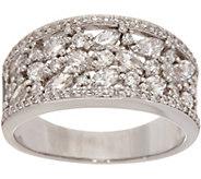 As Is Diamonique Multi-Cut Half Band Ring, Sterling - J353639