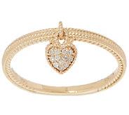 Judith Ripka 14K Gold Diamond Heart Charm Ring - J355339