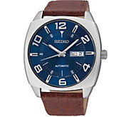 Seiko Recraft Automatic Blue Dial Brown LeatherMens Watch - J376239