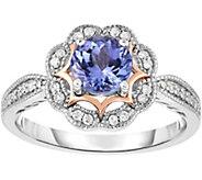 0.75 ct Tanzanite & 1/7 cttw Diamond Ring, 14KGold - J376439