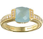 Judith Ripka 14K Clad Milky Aquamarine & Diamonique Ring - J376539