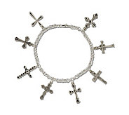 Sterling Silver 8 Fashion Cross Rolo Link 7-1/2 Bracelet - J108340
