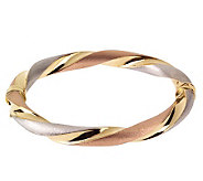 Arte dOro 7-1/2 Tri-Color Twisted Bangle Bracelet, 18K 15.5 - J110240
