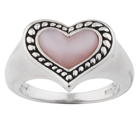 Honora Sterling Pink Mother-of-Pearl Heart Ring