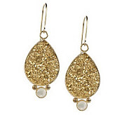 1-3/4 Teardrop Drusy with Mother of Pearl Accent Dangle Earrings, 14K - J261940