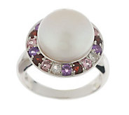 Honora Cultured Pearl 11.0mm Button & Multi-gemstone Sterling Ring - J270840