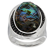 Abalone Doublet & Black Spinel Sterling Ring - J289440
