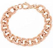 Italian Silver Sterling 6-3/4 Textured Curb Link Bracelet, 21.0g - J290940