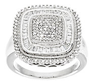 Cushion Shape Diamond Ring, Sterling, 1/2 cttw, by Affinity - J291540