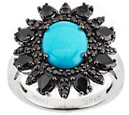 Graziela Gems Sleeping Beauty Turquoise & Black Spinel Sterling Ring - J295340