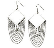 Stainless Steel Diamond Shape with Dangle Chain Earrings - J309140