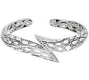 JAI Sterling & White Topaz Croco Tail Cuff Bracelet - J323040
