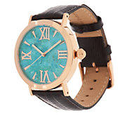 As Is Bronzo Italia Round Turquoise Dial Leather Strap Watch - J323640
