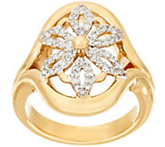 14K Gold 1/3 cttw Diamond Open Work Flower Ring - J324740