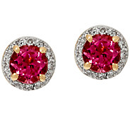 Pink Tourmaline and Diamond Stud Earrings 14K Gold 0.60 ct tw - J326340