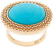 As Is14K Gold Bold Woven Border Sleeping Beauty Turquoise Ring - J329040