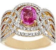 Graziela Gems Pink Sapphire & Diamond Bold Ring 14K, 1.35 ct - J330940