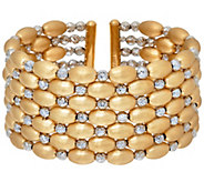As Is Arte d Oro Large Diamond Cut Bead Cuff 18K Gold 40.5g - J331940