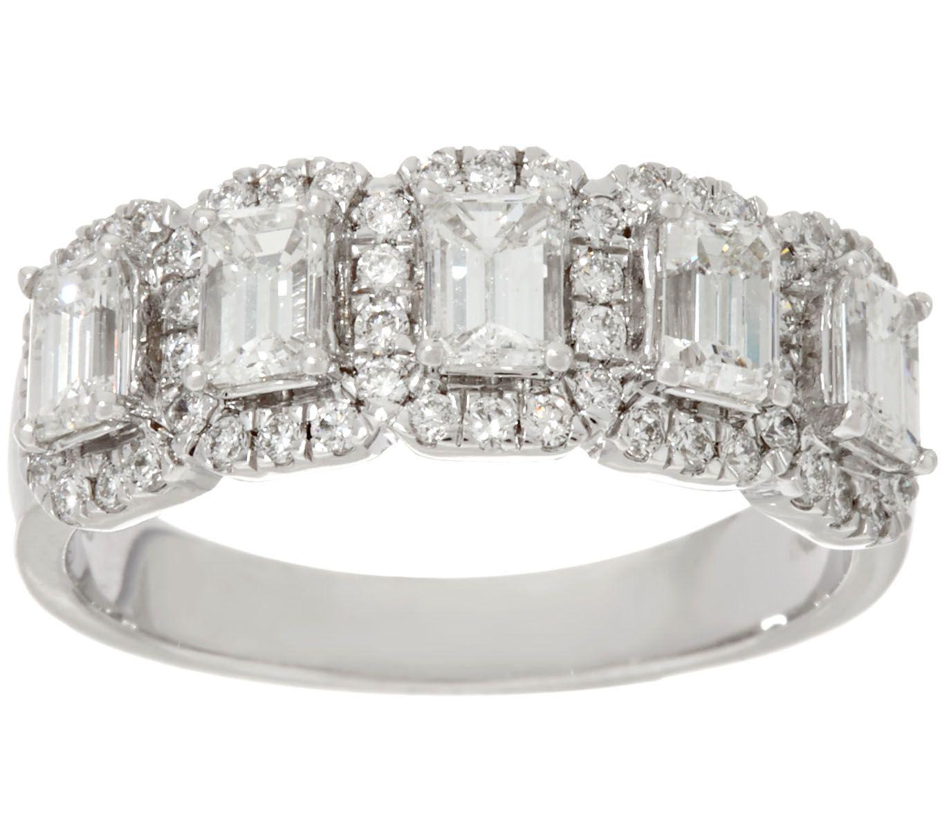 Halo 5 Stone Emerald Cut Diamond Band Ring 130cttw 14K Affinity