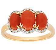 Red Coral & Diamond 3-Stone Ring 14K Gold 1/7 cttw - J334840