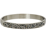 Stainless Steel Crystal and Bead Design Hinged Bangle Bracelet - J335540