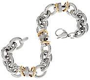 Vicenza Silver Sterling & 14K Diamond Station 6-3/4 Bracelet, 24.3g - J346340