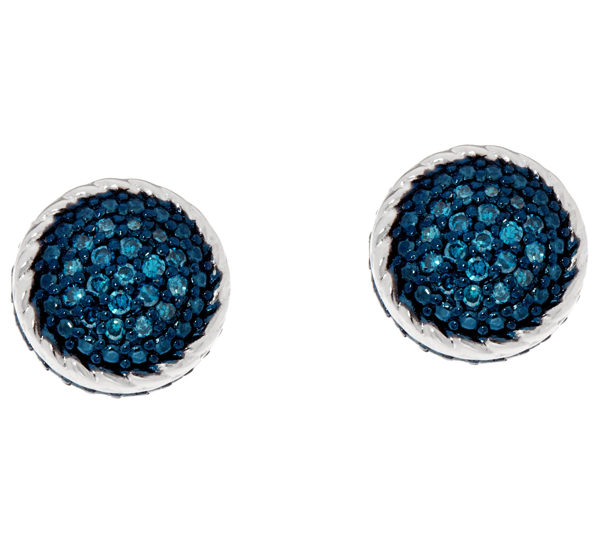Pave' Blue Diamond Stud Earrings, Sterling By Affinity  J346540